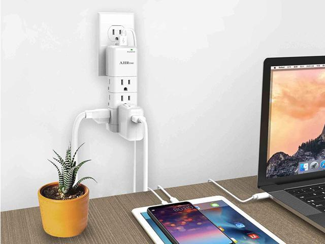 Surge Protector, Small Power Strip, Outlet Splitter, AHRISE Multi Plug Outlet with 9-Outlet Extender Adapter and 2 USB Charging Ports, 1080 Joules, for Home/School/Office/Travel, White