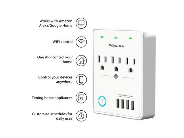 Smart Plug, USB Wall Charger, POWRUI WIFI Surge Protector with 4 USB Charging Ports(Smart 4.8A 24W Total) and 3 Smart Outlet Extender, Compatible with Alexa Google Assistant for Voice Control, White