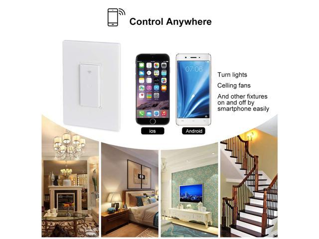 POWRUI Smart Wi-Fi Light Switch, Touch Remote Control Panel with Smart Phone Compatible with Google Home Amazon Echo Alexa, Control Your Fixtures From Anywhere, No Hub Required, US/CA Wall Switches