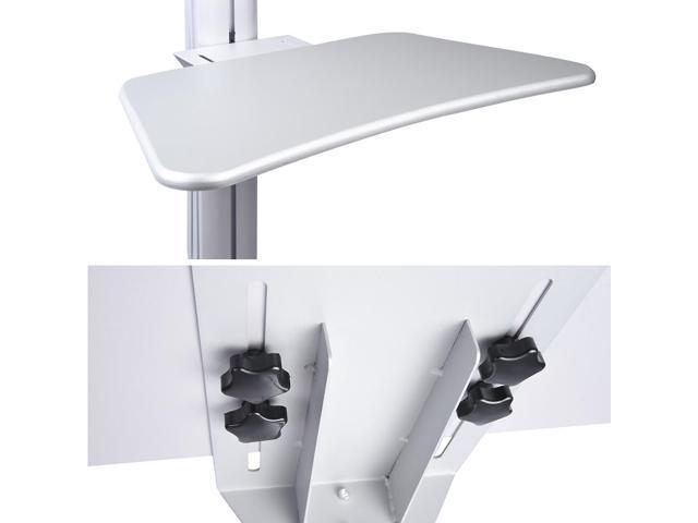 PC Rolling Mobile cart Desktop  Workstation Sit/stand up w/  Monitor Holder & Printer Deck