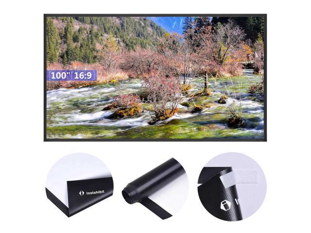 """Instahibit® 100"""" 16:9 Portable Projector Screen Matte White HD Front Projection"""
