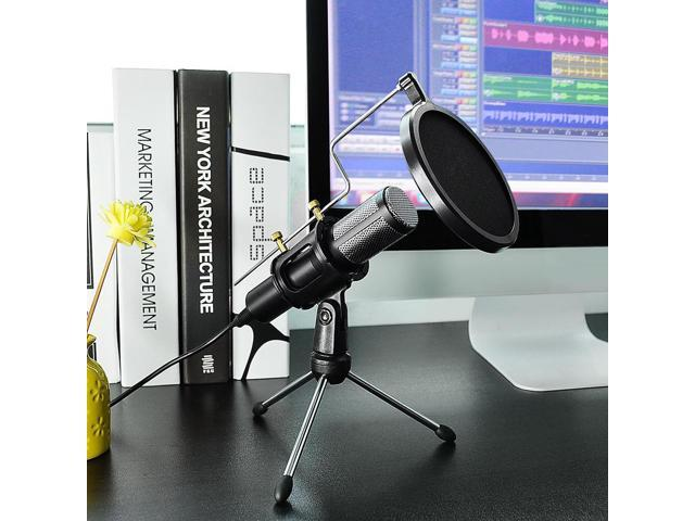 Condenser USB Microphone w/ Tripod Stand for Game Chat Studio Recording Laptop Computer