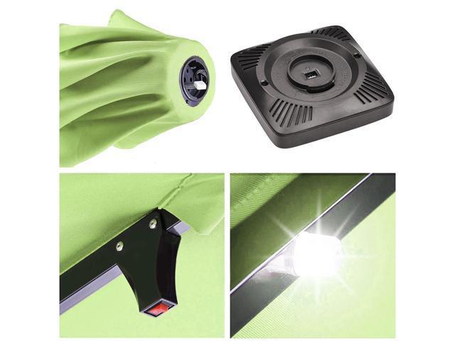 9 ft Solar Power 32 LED Patio Umbrella 8 Rib Crank & Tilt