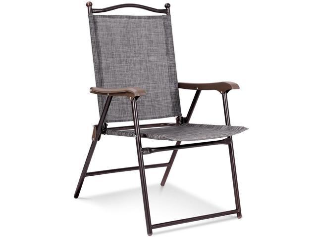 Fantastic Set Of 2 Patio Folding Sling Back Camping Deck Chairs Gray Newegg Com Gmtry Best Dining Table And Chair Ideas Images Gmtryco