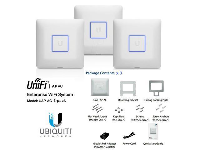 Ubiquiti UniFi AP-AC 3-pack, UAP-AC 3 pack Dual Band Access Point AC 3x3  PoE+ - Newegg com