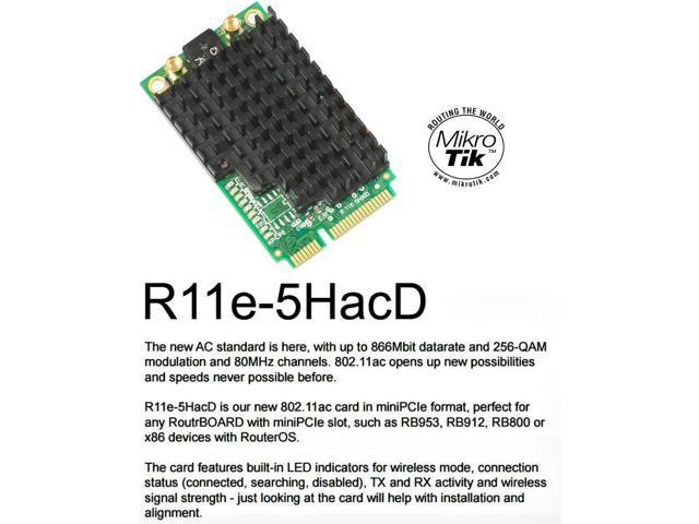 Mikrotik R11e-5HacD, 802 11ac High Power 500mW Mini PCI Express Card 2x  MMCX - Newegg com