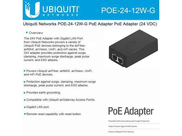 Ubiquiti Networks POE-24-12W POE External Injector US Style Power Cord