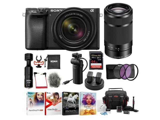 Sony Alpha a6400 Mirrorless Digital Camera with 18-135mm and 55-210mm Lens Bundle