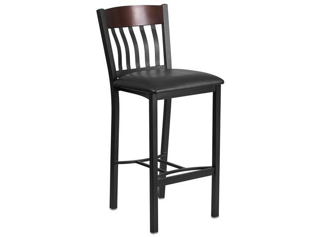 Awesome Thorntons Office Supplies Vertical Back Black Metal Walnut Wood Restaurant Barstool With Black Vinyl Seat Newegg Com Alphanode Cool Chair Designs And Ideas Alphanodeonline