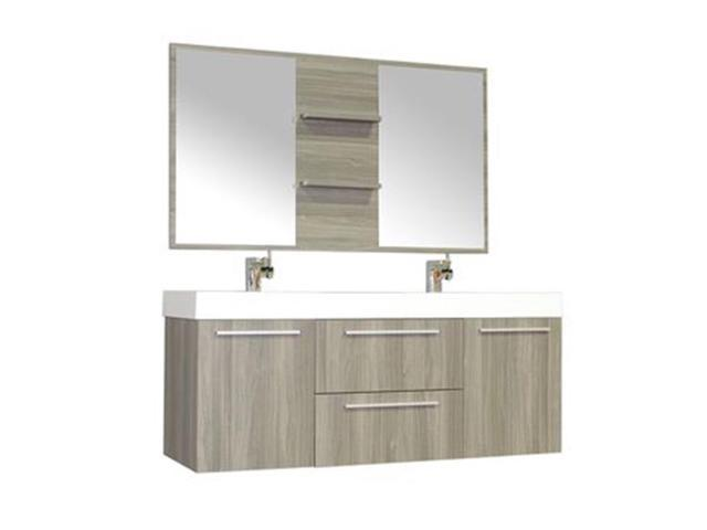 Alya Bath AT 8047 G D S Double Wall Mount Modern Bathroom Vanity Set In Gray With Mirror 54 In