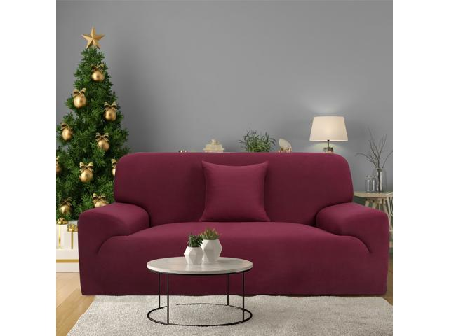 Stretch Sofa Cover Loveseat Couch Slipcover, Machine Washable, Stylish  Furniture Protector with One Cushion Case (3 Seater, Burgundy) - Newegg.com