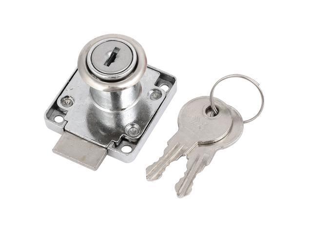 18.5mm Cylinder Diameter Metal Deadbolt Drawer Locks Locker Silver Tone
