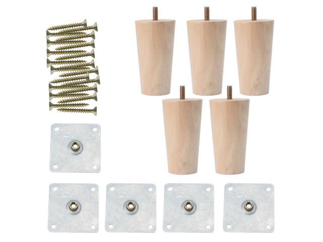 Swell 4 Inch Round Solid Wood Furniture Legs Sofa Couch Chair Table Desk Closet Cabinet Feet Replacement Adjuster Set Of 5 Newegg Com Complete Home Design Collection Epsylindsey Bellcom