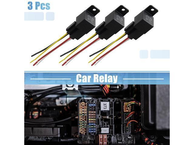 DC 48V 40A SPST Automotive Car Relay 4 Pin 4 Wires w// Harness Socket Plug 3pcs