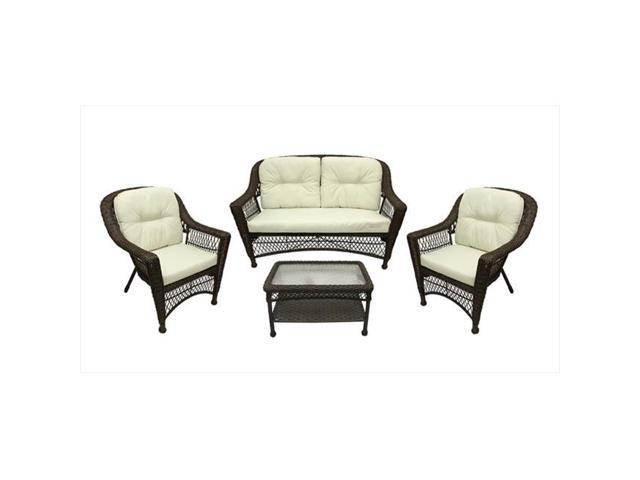 Phenomenal Northlight 4 Pieces Somerset Dark Brown Resin Wicker Patio Loveseat Chairs Table Furniture Set Cream Cushions Newegg Com Alphanode Cool Chair Designs And Ideas Alphanodeonline