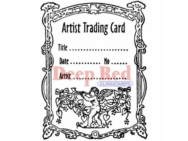 Deep Red Stamps ATC Flourish Rubber Cling Stamp