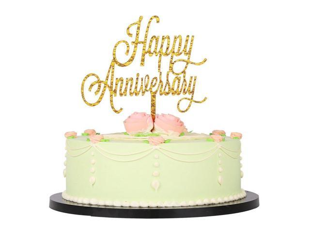 LXZS BH Gold Glitter Acrylic Happy Anniversary Birthday Cake Topper For