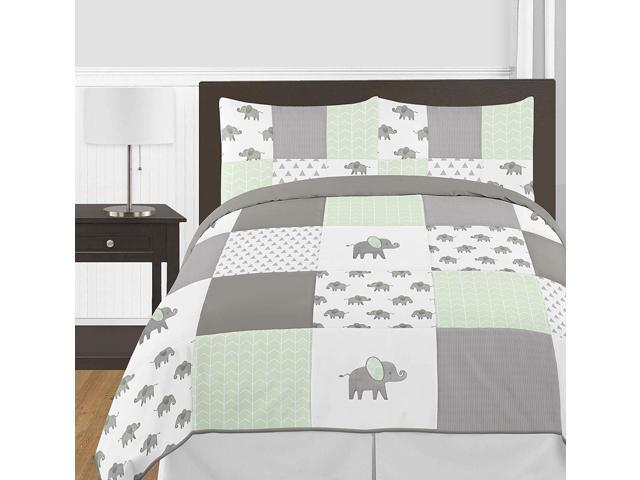 Sweet Jojo Designs Grey and White Window Treatment Valance for Mint Watercolor Elephant Safari Collection