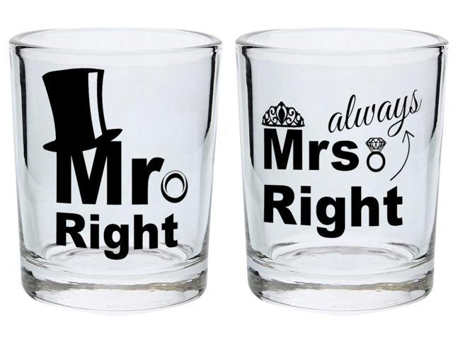 Gag Wedding Gifts For Couples: Wedding Gift Shot Glasses Mr Right Mrs Always Right Funny