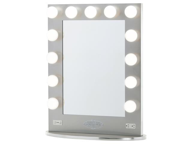 Lighted Makeup Mirror.Silver Vanity Girl Broadway Lighted Vanity Mirror With 2 Outlets And Dimmer Switch 13 Makeup Ready Bulbs Around A Tabletop Or Wall Mounted Vanity