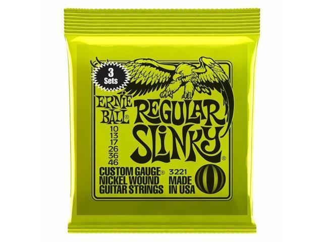 3 ernie ball 2221 regular slinky sets pack electric guitar strings 10 46 3221. Black Bedroom Furniture Sets. Home Design Ideas