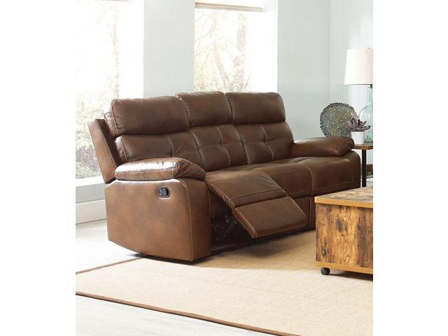 Astounding Benzara Bm184836 Contemporary Style Button Tufted Faux Leather Reclining Sofa Brown Ncnpc Chair Design For Home Ncnpcorg
