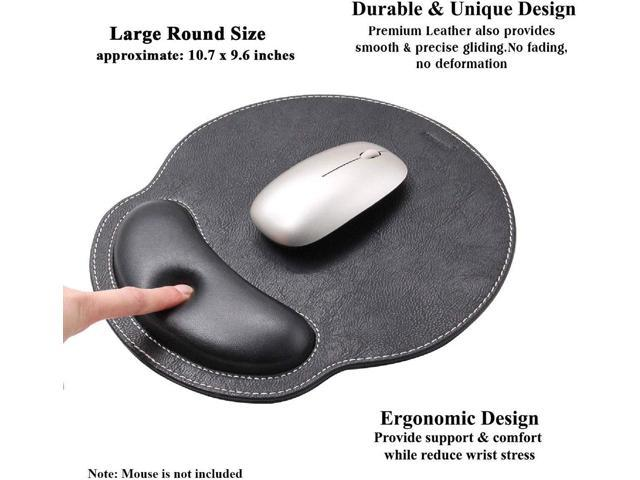 Meffort Inc Leather Mouse Pad with Wrist Rest Support /& Non-Slip Base Black Durable Ergonomic Gaming Mousepad