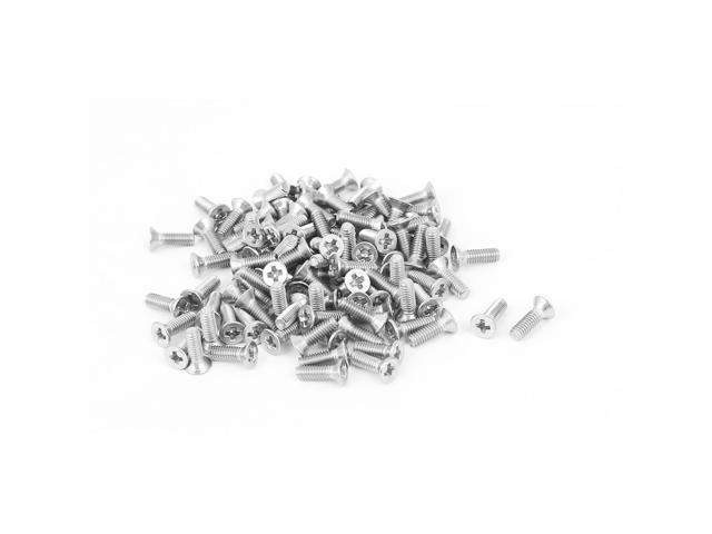 M2 5x8mm Phillips Flat Countersunk Head Machine Screws Silver Tone 100pcs -  Newegg com