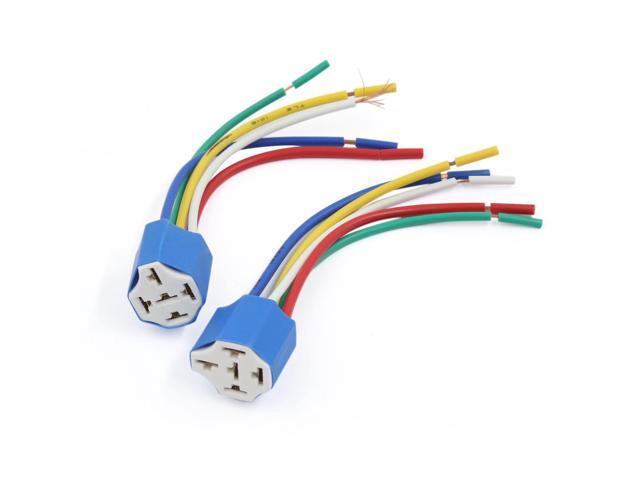 2pcs Ceramic 5 Pin Automotive Car Wiring Harness Relay Socket ...