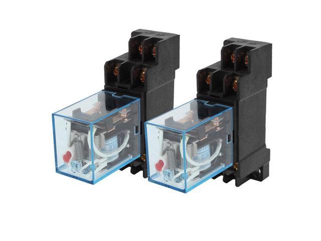 2 x Plastic Shell AC110V 10A Coil Electromagnetic Relay 8P DPDT 2NO 2NC w  Socket - Newegg com
