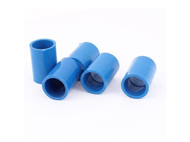 5Pcs 20mm Inner Dia U-PVC Straight Water Pipe Hose Joint Connector Blue