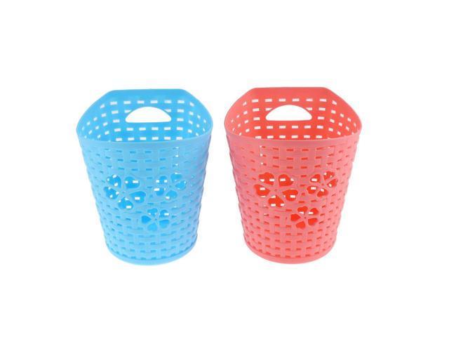 Unique Bargains Plastic Hollow Out Heart Storage Basket Holder Coral Pink  Blue 2 Pcs