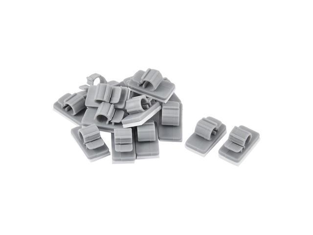 54ad2b0359ab Home Office Plastic Paste Strap Cord Wire Cable Clip Holder Grey 15pcs