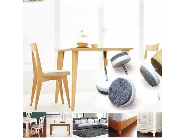 Nail On Furniture Felt Pads Glide Chair Table Leg Protector 20mm Dia White 16pcs
