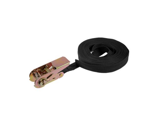 Black 8M x 25mm Ratchet Tie Down Strap Cargo Lashing Straps 250Kg Work Load