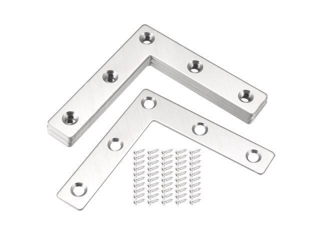 80mmx80mm Stainless Steel L Shaped Flat Corner Brace Angle Bracket Plate 10pcs