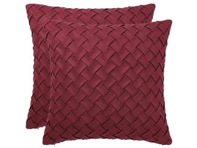 Throw Pillow Cover Stylish Basket Weave Pattern Soft Solid Decorative Pillow Case Home Decor Design Cushion Cover For Sofa Bedroom Car Red 2pcs 18 X18 Newegg Com