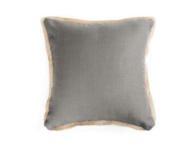Farmhouse Throw Pillow Cover With Burlap Linen Trimmed Tailored Edges Soft Solid Decorative Pillow Case Home Decor Design Cushion Cover For Sofa Bedroom Car 18x18 Inch Gray Newegg Com