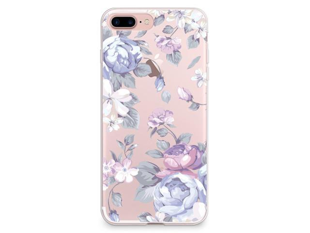 iPhone 7 Plus Case, CasesByLorraine Purple Floral Flower Clear Transparent Case TPU Soft Gel Protective Cover for Apple iPhone 7 Plus (I33)