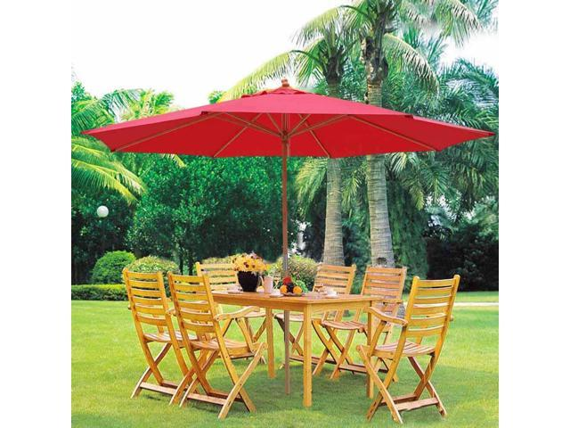 Charmant 13ft XL Outdoor Patio Umbrella W/ German Beech Wood Pole Beach Yard Garden  Wedding Cafe