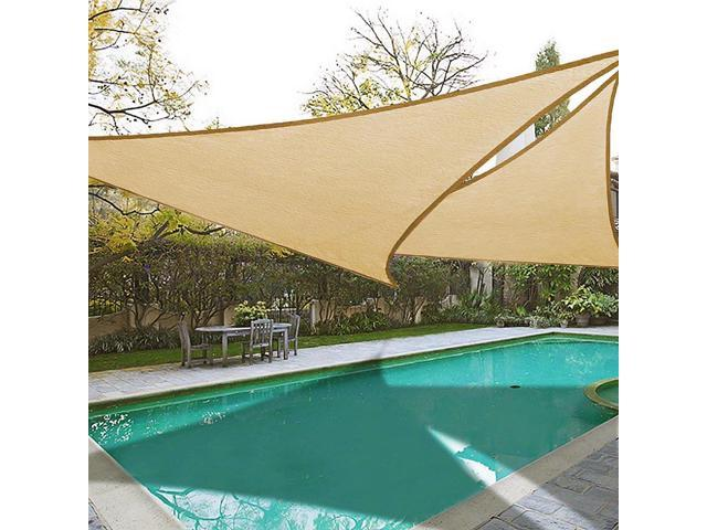 2pcs 16 5 Outdoor Triangle Sun Shade Sail Patio Top Cover Desert Sand Canopy