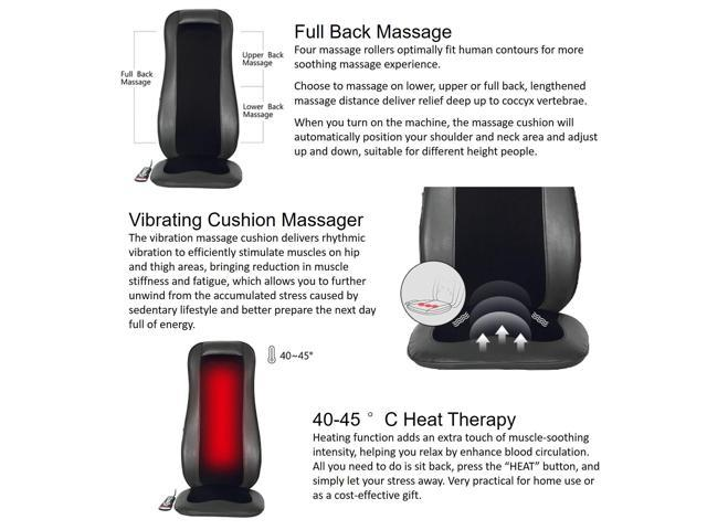 Kleasant Shiatsu Neck & Back Massager – Adjustable Rolling/Kneading Full  Back Massage Cushion with Heat Therapy, Vibration Seat Auto/Manual Massage