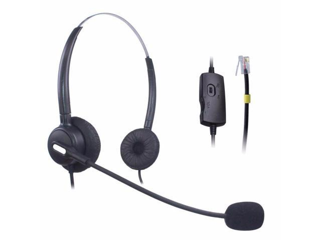 Wantek Hands Telephone Headset Dual With Noise Cancelling Mic Volume Mute Control Call Center Phone Headsets Rj9 Rj11 Jack Newegg Com