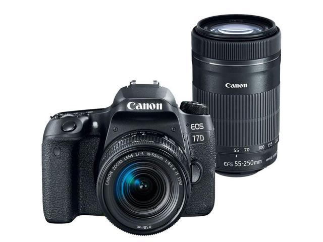 Canon EOS 77D 24.2MP Digital SLR Camera with Canon 18-55mm and 55-250mm IS STM Lens