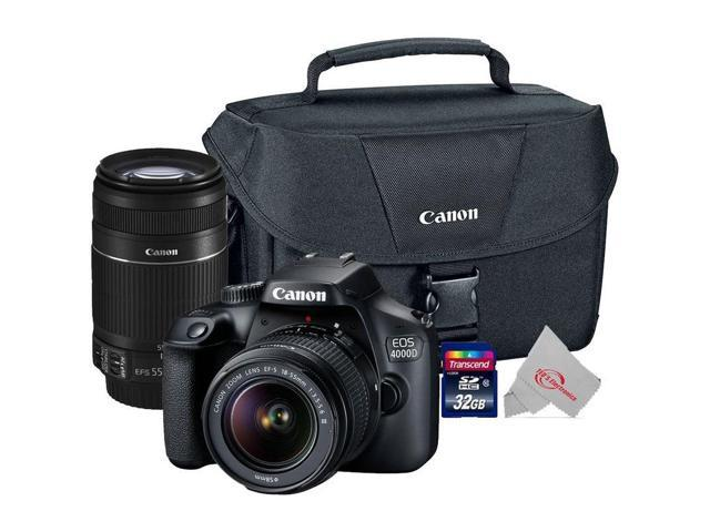 Canon EOS 4000D Rebel T100 18MP DSLR Camera + Canon 18-55mm + 55-250 IS II Lens Top Kit