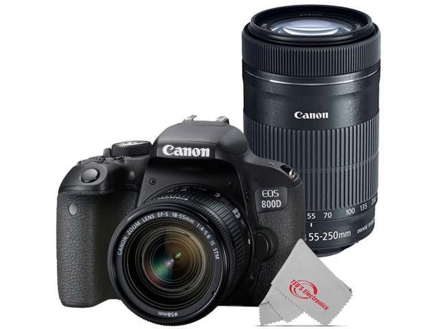Canon EOS 800D Rebel T7i 24.2MP DSLR Camera with Canon 18-55mm + Canon 55-250 IS II Lens