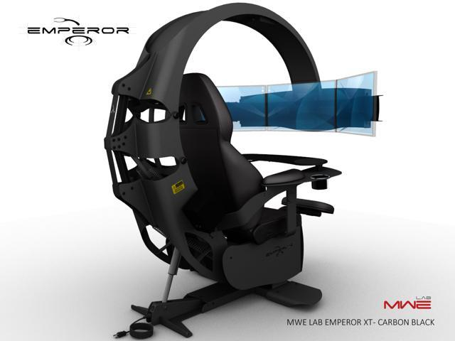 MWE Lab Emperor XT Motorised Ergonomic Workstation / Gaming Chair - Carbon  Black - Integrated Sound System - Pre wired to support up to 3x30