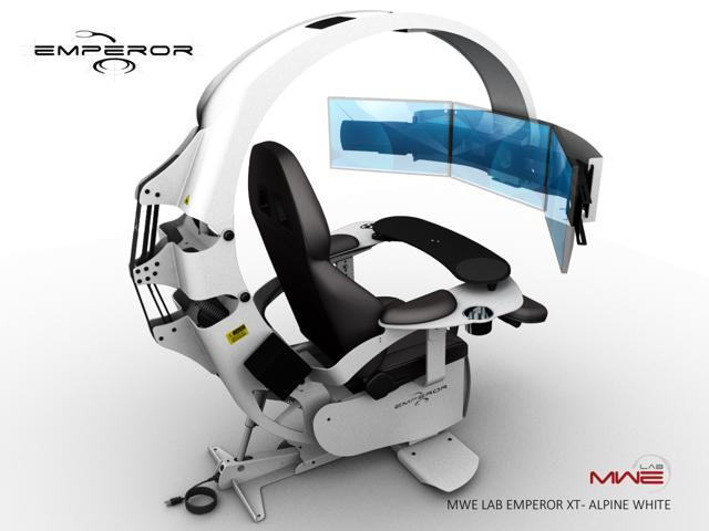 MWE Lab Emperor XT Motorised Ergonomic Workstation / Gaming Chair - Alpine  White - Integrated Sound System - Pre wired to support up to 3x30