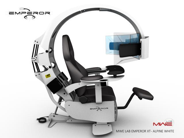 Fabulous Mwe Lab Emperor Xt Motorised Ergonomic Workstation Gaming Chair Alpine White Integrated Sound System Pre Wired To Support Up To 3X30 Monitors Machost Co Dining Chair Design Ideas Machostcouk