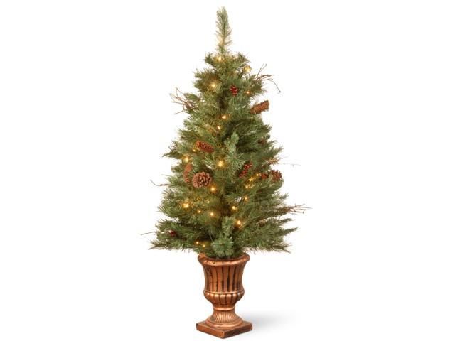 4' Pre-lit Potted Glistening Pine Artificial Christmas